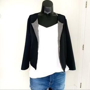 UO Pins & Needles Black Cropped Blazer